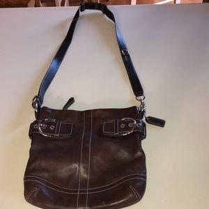 Coach chocolate brown leather hobo Crossbody purse